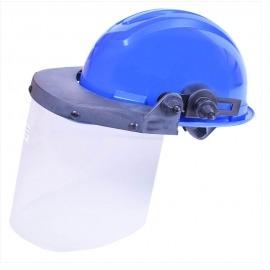 Capacete Azul Escuro Com Proteção Facial de Carbono Incolor - Ledan