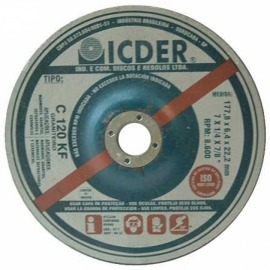 Disco de desbaste - 7 X 1/4 X 7/8 - graniteiro - C120 - Icder