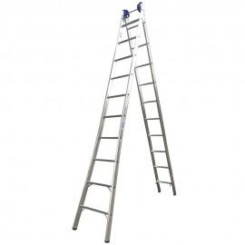 Escada Profissional Esticável Dupla 10 Degraus - Alumínio - Real Escadas