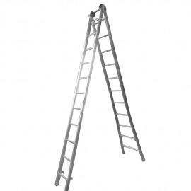 Escada Profissional Esticável Dupla 11 Degraus - Alumínio - Real Escadas