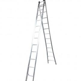 Escada Profissional Esticável Dupla 12 Degraus - Alumínio - Real Escadas