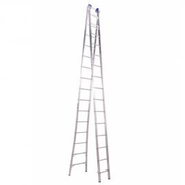 Escada Profissional Esticável Dupla 15 Degraus - Alumínio - Real Escadas