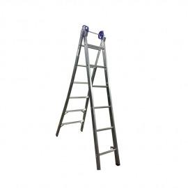Escada Profissional Esticável Dupla 6 Degraus - Alumínio - Real Escadas