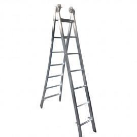 Escada Profissional Esticável Dupla 7 Degraus - Alumínio - Real Escadas