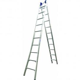 Escada Profissional Esticável Dupla 9 Degraus - Alumínio - Real Escadas
