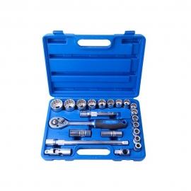 Jogo De Soquete Estriado Crv  1/2pol. - 22pcs - 10-32mm -  Riosul Tools