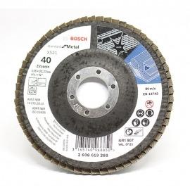 Lixa Flap Disco Para Metal - 115x22mm - GR. 40 - Bosch