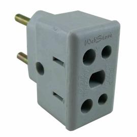 Plug - tomada - adaptador 3 para 2 pinos - fêmea (duplo)